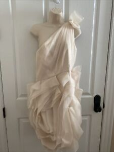 WHITE By Vera Wang One Shoulder Ivory Organza Flower Dress For Wedding Formal