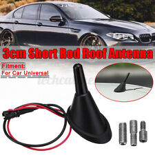 Car Universal Short Rod Roof Antenna + Base with Amplifier + Adapters Kits