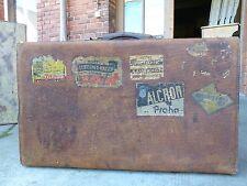 traumhafter alter vielgereister Leder Koffer mit Vergrößerungsmechanik um 1920