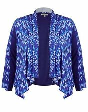 Autograph Blue 3/4 sleeve stretchy adjustable back waterfall cardigan jacket 24