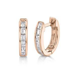 14K Rose Gold Baguette Diamond Huggie Earrings Channel Set 0.32 CT Natural