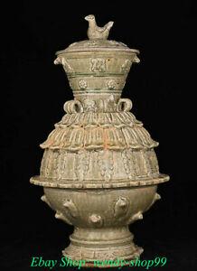 """22"""" Old China Song Dynasty Yue Kiln Porcelain Palace Birds Incense Burner Censer"""