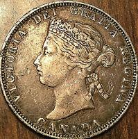 1870 CANADA SILVER 25 CENTS QUARTER COIN - Obverse #1