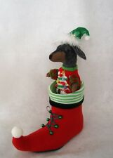 Dachshund Silver Dapple Felt Red Christmas Elf Shoe Boot w/ Ugly Sweater & Hat