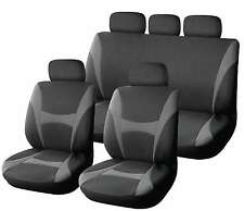 XtremeAuto® 9 Piece Grey /Black Supreme Classic Seat Covers Soft Fabric FULL SET