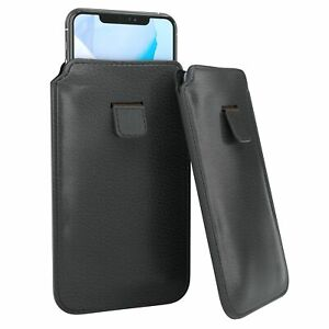 """EAZY CASE Phonecase cover PU Leather Protective Mobile Phone Sock To 6.1 """" Black"""