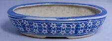 Vintage Oval Porcelain Blue & White Bonsai or Flower Bulb Pot