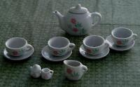 Nice Vintage Miniature China Teapot and China Setting, GOOD CONDITION