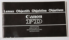 Canon FD Lens Collection Instruction Manual Book - English Fr De Es USED B39 VG