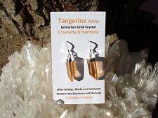 Tangerine Aura Quartz Lemurian Seed Crystal Point Earrings-Energizing