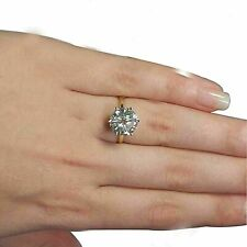3.50Ct Round-Cut Moissanite Solitaire Promise Wedding Ring Solid 14K Yellow Gold