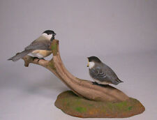 Black-capped Chickadee & a Baby Orig Carvings/Birdhug