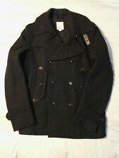 Genuine Diesel Men's Black Double Breasted Wool Blend Pea Coat Size Large