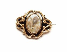 Antique Mourning Brooch 9 carat gold lovely condition