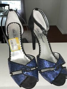 Lulu Townsend Blue Sequin And Suede Open Toe Slingback Heels Size 8M Shoes