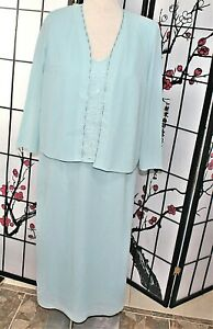 BEADED COCKTAIL DRESS SUIT LIGHT  TURQUOISE 18W PLUS MOTHER OF BRIDE
