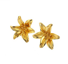 Hot Sell New Fashion Yellow Gold Plated Flower Stud Earrings