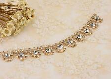 ORO Diamante APPLIQUE Applique cristallo Strass Bracciale Catena Matrimonio Trim
