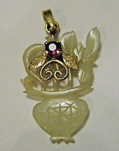 Vintage 1920s Chinese Jade Flower Vase Pendant 14K Gold and Ruby Bee Accent