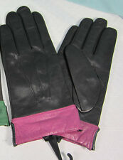 Leather Gloves Black with  Magenta Cuff All polyester black lining Driving NWT