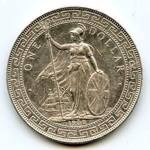 Genuine Silver 1900-B Hong Kong China Great Britain Trade Dollar | AU Details