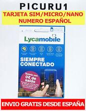 Tarjeta SIM Lycamobile PREPAGO 0€ Saldo ✅PRECINTADAS ✅SIN ACTIVAR ✅ENVIO GRATIS