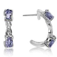 Ohrringe/Ohrstecker Roxanne, 925er Silber, 0,57 Kt. echter Tansanit & Diamant