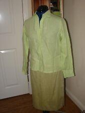 Artigiano size 10 yellow  green ladies collared, long sleeved linen blouse/shirt