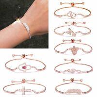 Luxury Women Zircon CZ Crystal Cuff Bracelet Bangle Chain Wedding Jewelry Gifts