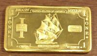 1 oz One Troy Ounce USA American Buffalo/Bison .999 Fine Brass Bullion Bar