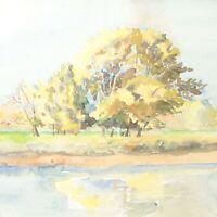 Landscape river painting antique English School painting impressionist