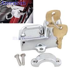 Chrome Motorcycle Helmet Lock Anti-theft Security Locker Tube 7/8'' To 1-1/4''