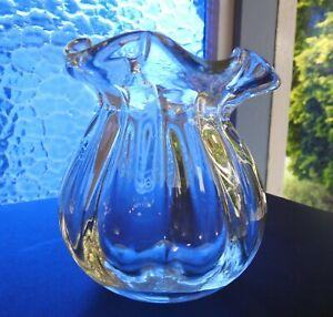 Vintage Heavy CLEAR CRYSTAL ART GLASS SACK VASE Czech