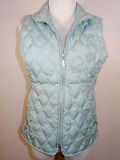 Eddie Bauer Premium Goose Down Vest Womens Sz Medium Pale Teal Lightweight Warm