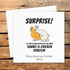 Tarjeta de Pascua hecho a mano personalizado gracioso grosero Travieso sexo Conejo Huevos De Gallina Broma