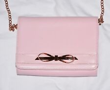 Ted Baker Bow Leather Clutch Handbag Rose Gold/ True Soft Pink