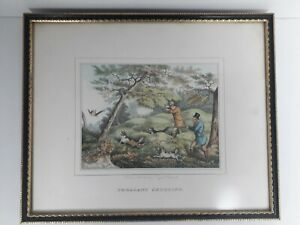 Antique Hunting/ Shooting Art Print Pheasant Shooting- T Tegg Publisher.