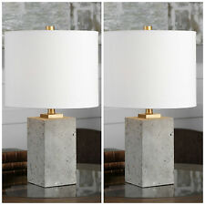 """TWO NEW 17"""" STAINED CONCRETE BASE TABLE LAMPS LINEN SHADES BRUSHED GOLD METAL"""
