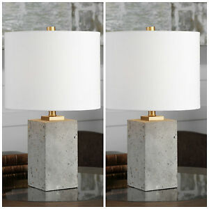 PAIR STAINED CONCRETE TABLE LAMPS UTTERMOST DESK LIGHT