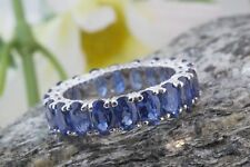 14k White Gold Finish 6.00 Ct Oval Cut Blue Sapphire Eternity Wedding Band Ring