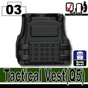 Black Q5 Tactical Vest for LEGO army military brick minifigures