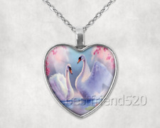 Swan Photo Tibet Silver Cabochon Glass Heart Pendant Heart Necklace#E27