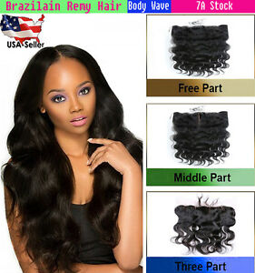 Lace Frontal Closures 13x4 Brazilian Body Wave ST JC Virgin Human Remy Baby Hair