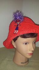 Red Hat Hatter Straw Feathers Purple figurine Gorgeous Fun