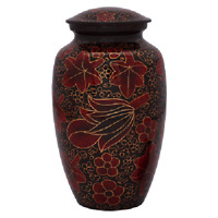 Red with Gold Leaf Pattern Urn for Human Ashes - Adult, Large Cremation Memorial