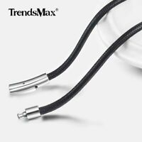 3mm Black Braided Leather Necklace Mesh Necklace Stainless Steel Magnetic Clasp