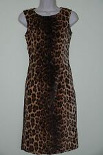 MOSCHINO BLACK AND BROWN SUEDED COTTON LEOPARD PRINT DRESS SIZE 6