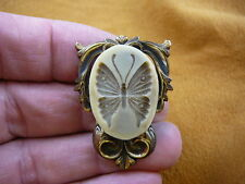 (cs3-17) BUTTERFLY CAMEO ivory + brown Oval Pin Pendant jewelry love butterflies
