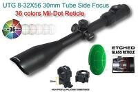 UTG 8-32x56 AO Accushot Side Focus Scope EZ-TAP Ill. Mil-Dot 1/8 MOA 30mm Tube