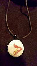 Cardinals Magnet Pendant & Black Leather Cord Choker Necklace-Handmade